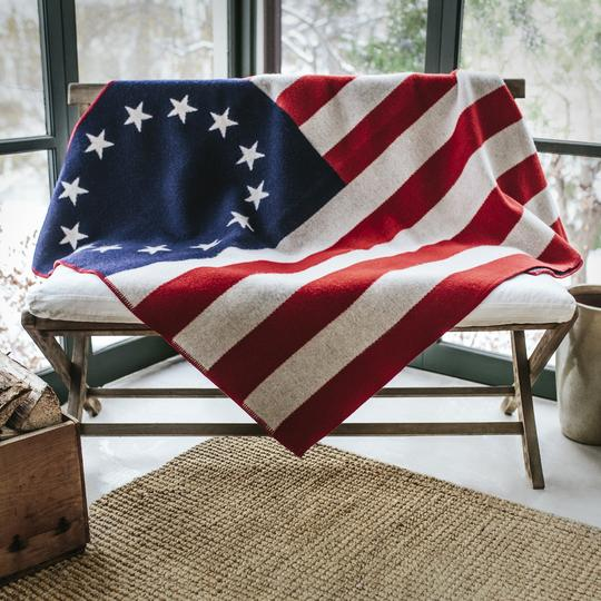 Betsy Ross Throw - $225Our 1776 Betsy Ross throw, is made from our finest Merino wool blend and woven on our jacquard loom.Size: 50