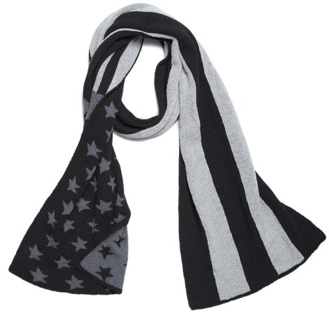 American Flag Scarf, Black - $75Show off your patriotic pride in style with this Eco American Flag Scarf. In a soft, heavy-weight recycled yarn, this gorgeous knit accessory will keep out that biting cold.Scarf Size: 12 x 70 inches75% recycled cotton / 25% polyester (also, mostly recycled!)Machine washable.Made in the USA.BUY NOW