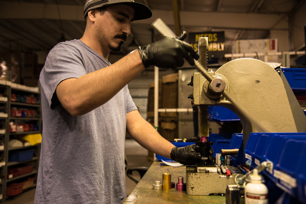 Christian pressing bearings into an S-Series Hub