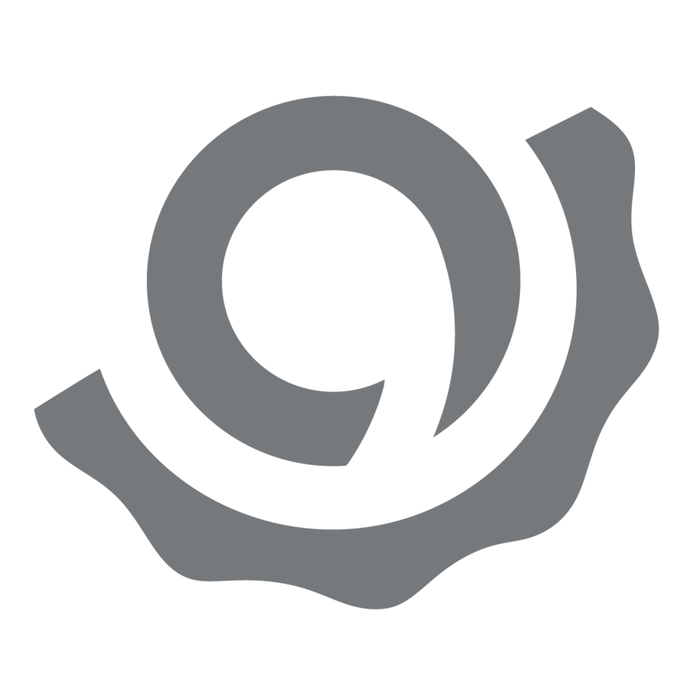 "Grey  ""Industry Nine Snail"" Logo on a transparent background."
