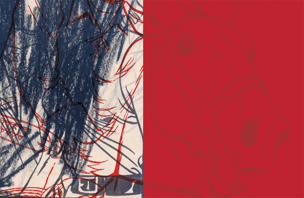 "Red Horse , 2004, 43 3/4 x 61"", digital print, plexiglass and frame"
