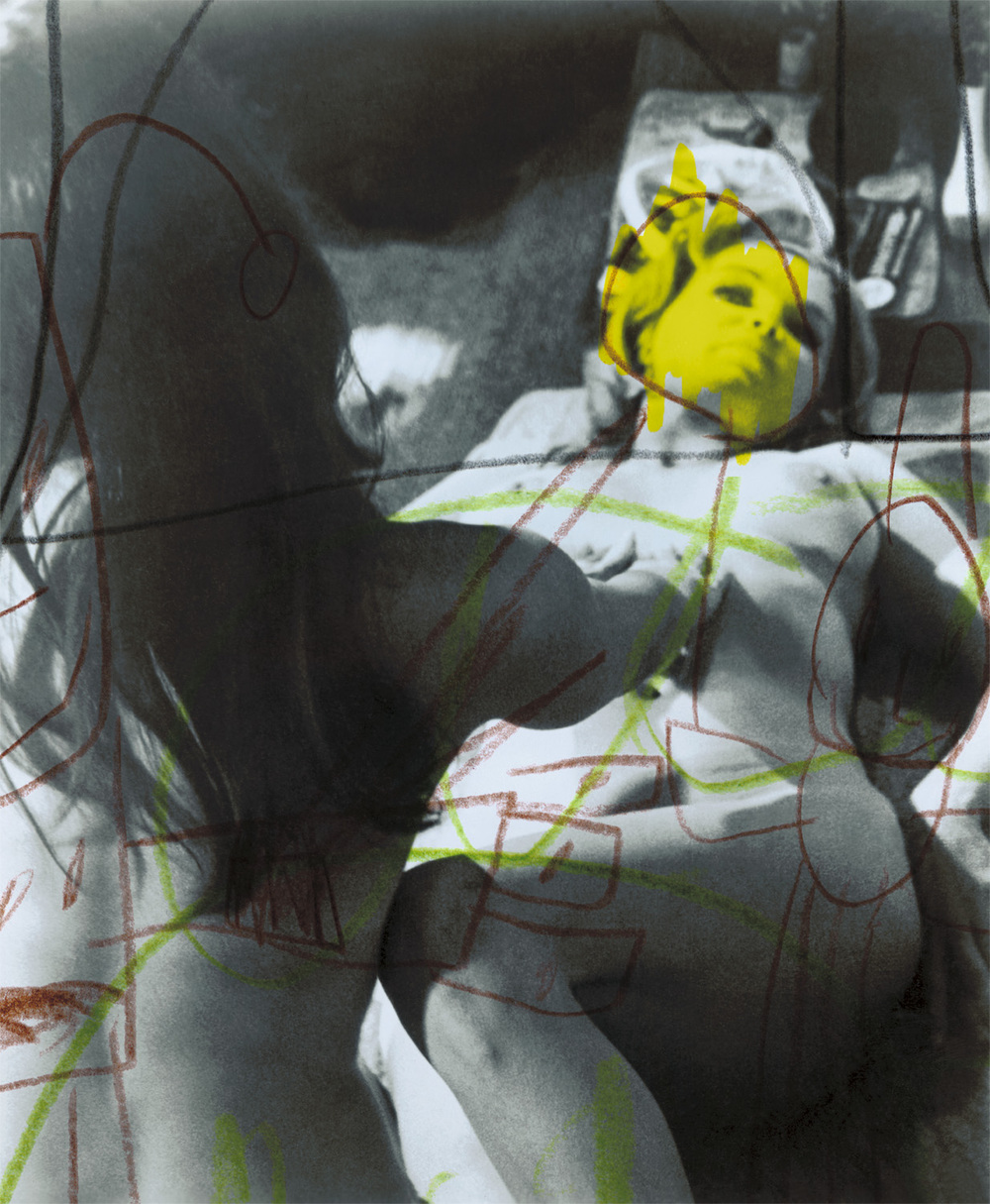 "Yellow Nude , 2003, 21 1/4 x 17 3/4"", digital print, plexiglass and frame."