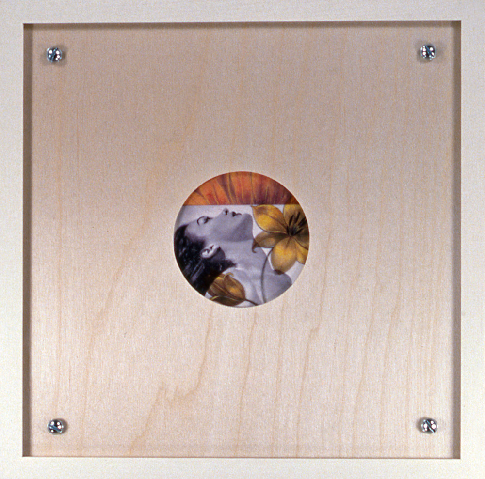 "Peephole 6 , 1996, 10 1/2 x 10 1/2"", mixed media with frame."