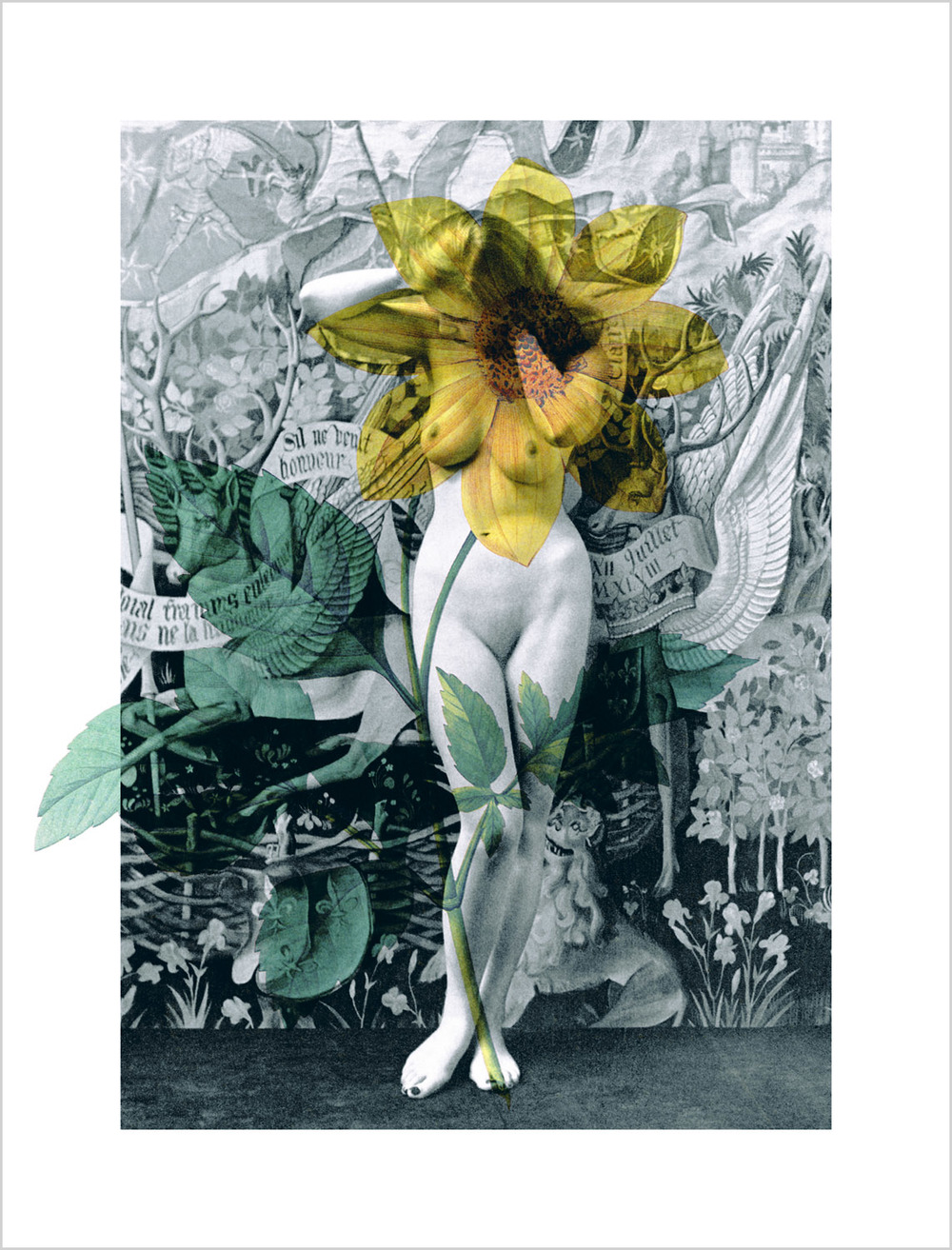 "Daisy Nude , 1995, 57 1/4 x 44"", digital print, plexiglass and frame."