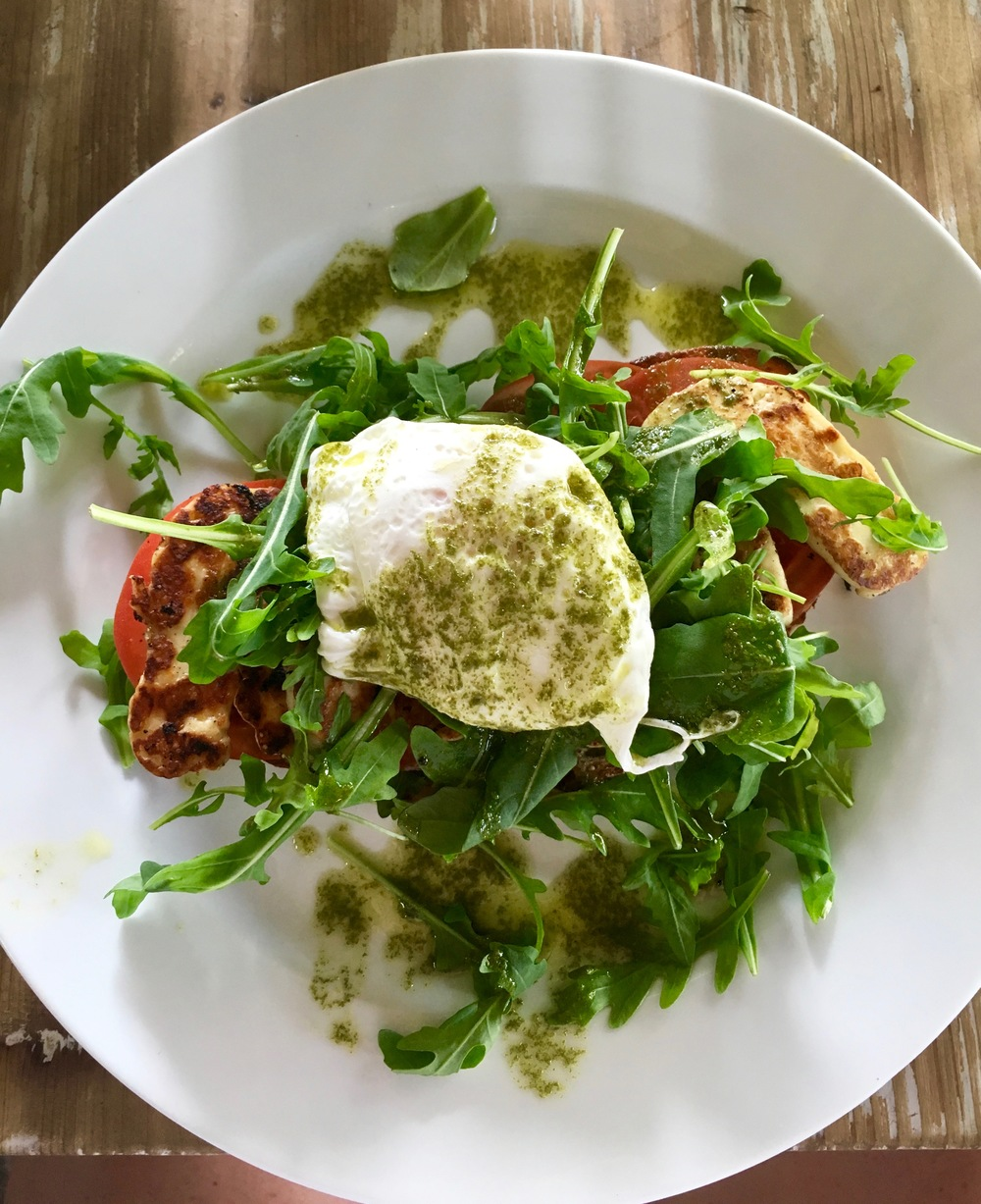 halloumi hiding beneath the arugula