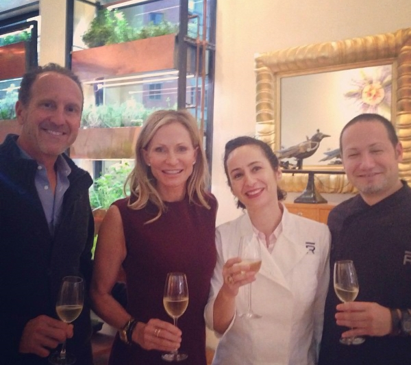 Mee (center) with Sue and Alex Glasscock (left) and Rob Dalzell (right) at Bouley Botanical, NYC for the press launch of The Ranch at Live Oak Cookbook (Rizzoli) which she ghost-wrote.