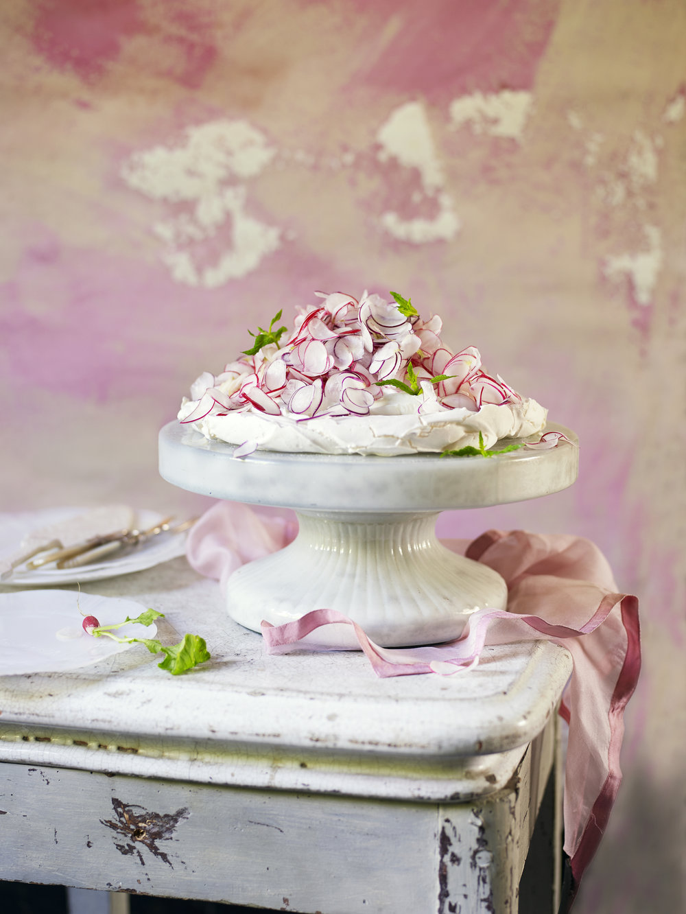 Radish Pavlova - Egg-free meringue made (as if by magic!) from chickpeas, topped with rosewater-infused radish