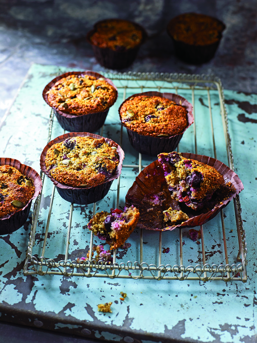 Triple Pumpkin Blueberry Muffins - Triple pumpkin, with double luscious blueberries