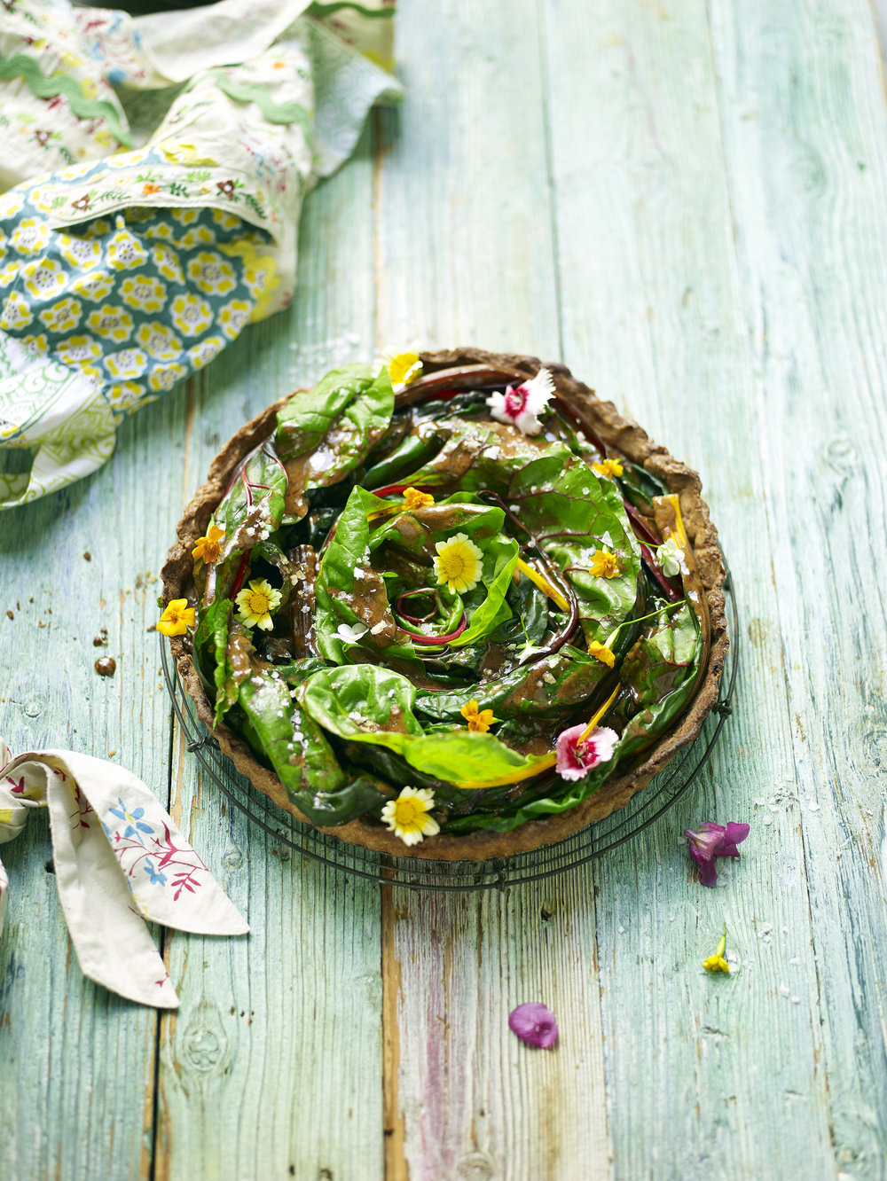 SALTED CARAMEL SWISS CHARD PIE - Sweet caramel made with cream and coconut sugar, with tender blanched chard