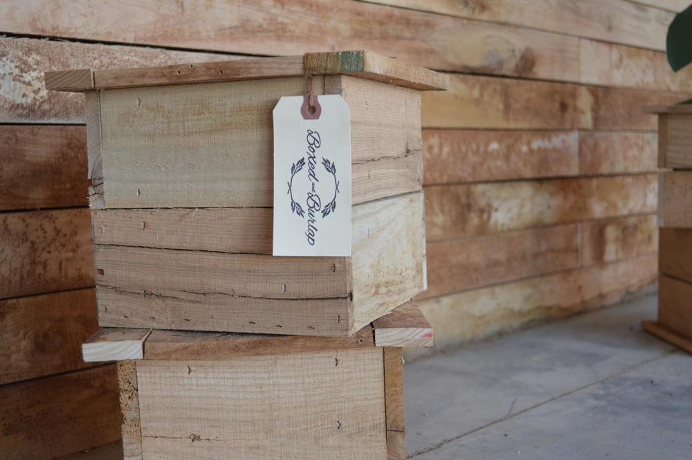 Handcrafted  Boxed and Burlap Signature Planters