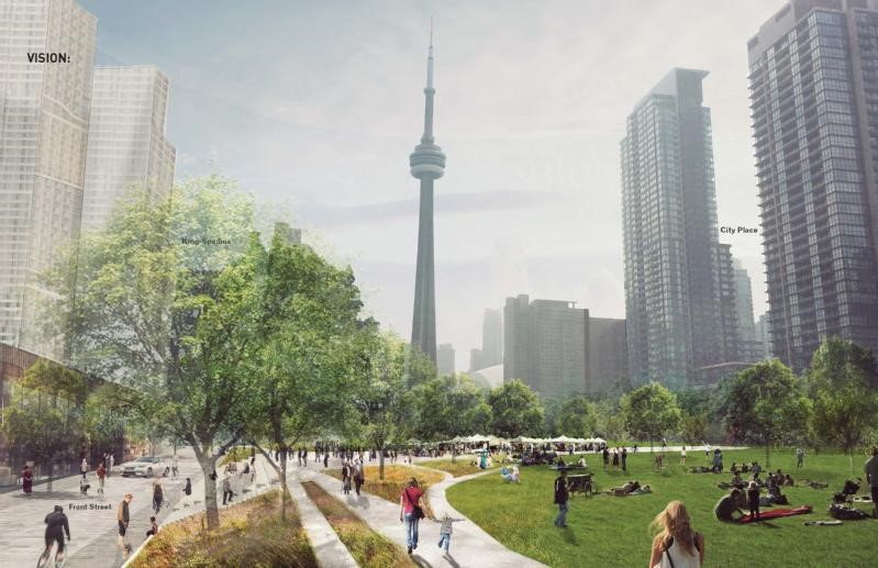 City of Toronto concept image of the proposed Toronto Rail Deck Park created by Public Work. Image courtesy of  http://bit.ly/2f9tybE