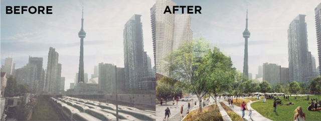 A before and after comparison of the proposed Rail Deck Park. Image Courtesy of Urban Toronto  http://bit.ly/2aCFGz