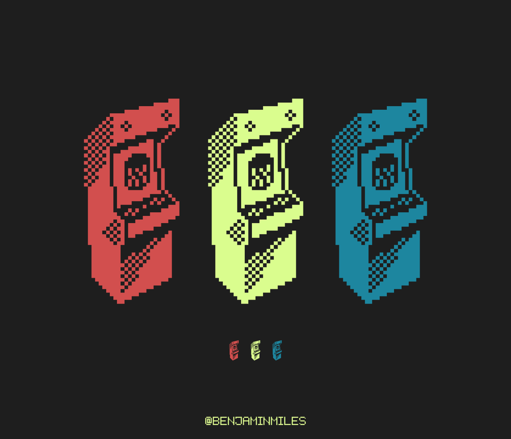 "I'm late and out of time so combining the last two Pixel Dailies themes into one. A variety of 2 color arcade machines featuring the groundbreaking game, ""Barrel""."