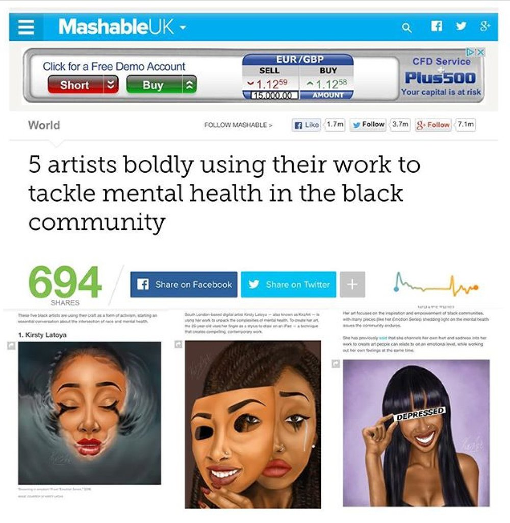 MASHABLE - I was contacted for a feature in this wonderful piece about artists using their creativity to address mental health. I'm humbled to be 1 of 5, find the article here