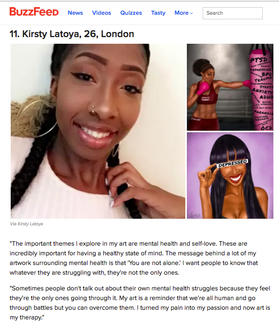 BuzzFeed - I made it as one of 34 Young British Artists to watch out for !! read the article here