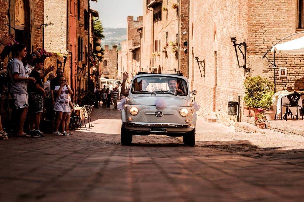 Bruidsfotograaf Toscane Italië Fiat 500