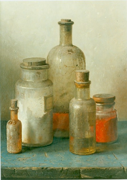 Still life with bottles by Johannes Hendrik Eversen