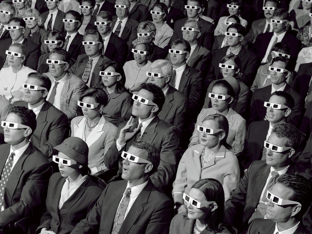 1950s audience watching 3D movie