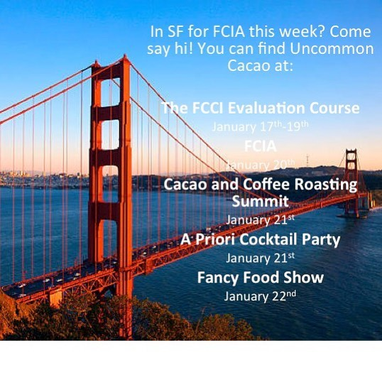 Looking forward to seeing folks in our home town this week! #fcia #fcci #specialtycacao #citybythebay #chocolate