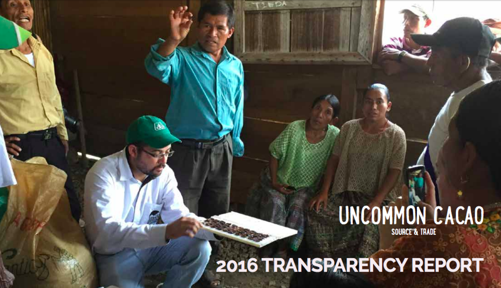 After months of careful preparation we are pleased to share our 2016 Transparency Report with you. This is our fifth annual report and covers Uncommon Cacao's work across the five countries where we sourced unique, delicious cacaos in 2016.