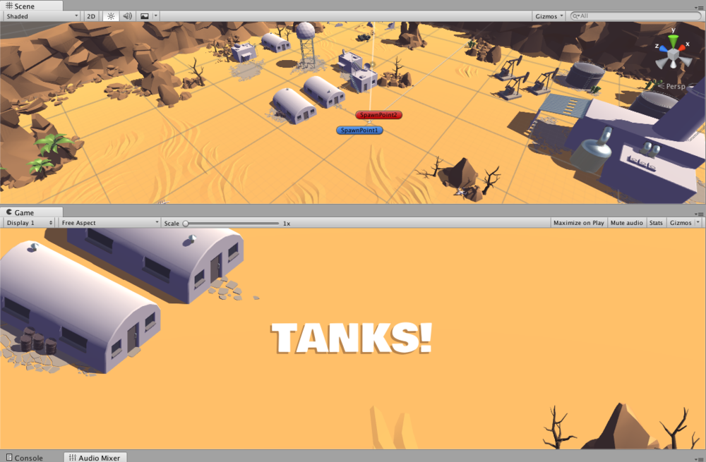 "Click the above image to read about my customisation of Unity's ""TANKS!"" demo."