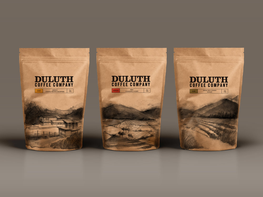 PACKAGE DESIGN - Each of these three individual bag designs was custom painted using the brewed coffee from Duluth Coffee Company. The scene on each bag depicts the coffee farm and fields where the coffee itself was sourced. When set next to each other, a unified image is created that connects the coffee farms to one another and to Duluth Coffee Company itself.