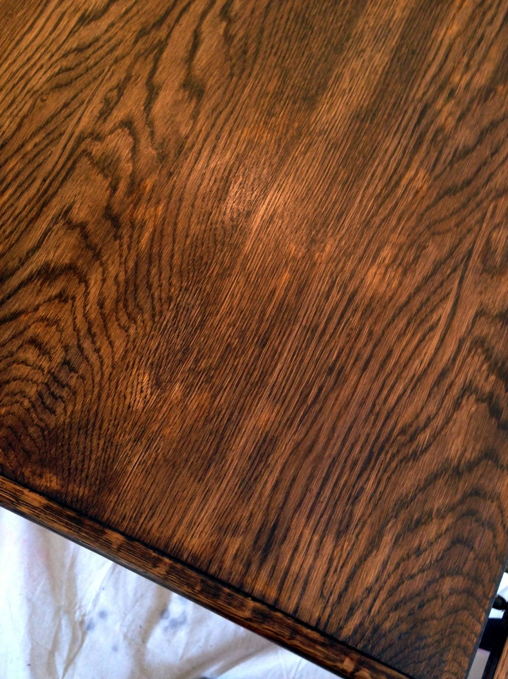oak-table-turned-farmhouse-table-blotchy-finish.jpg