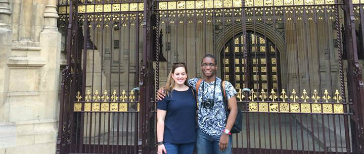 Heather in London during her internship at BNP Paribas with Jeremiah Grant (2014 FGL Fellow)