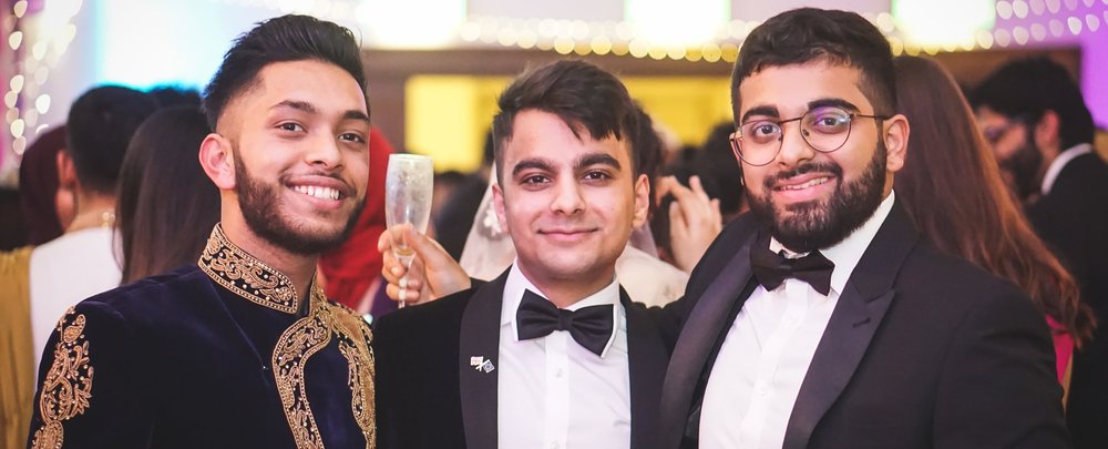 Rabii (far right) and his peers at   the 2018 Cambridge University PakSoc Ball.
