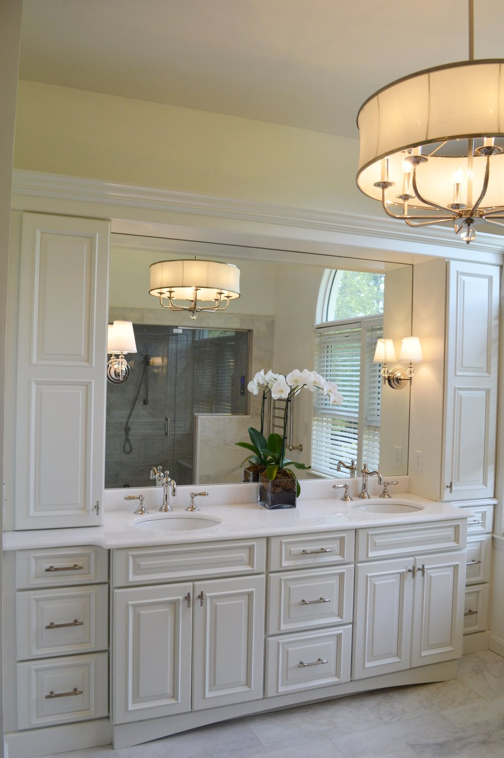 Deleo vanity and chandelier, shower reflection.jpg