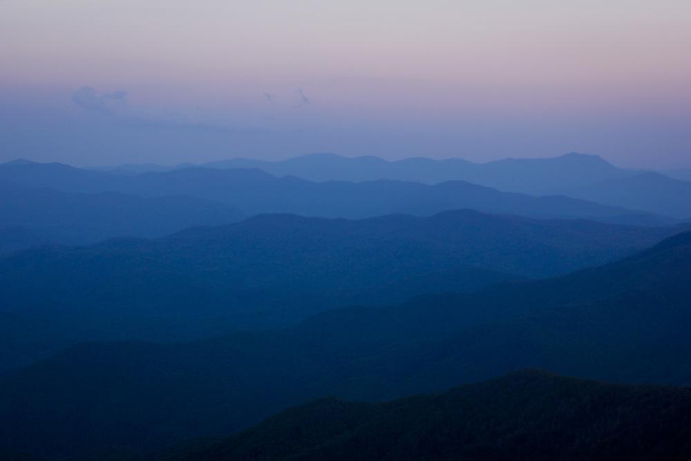 The Smokie Mountains at dusk.