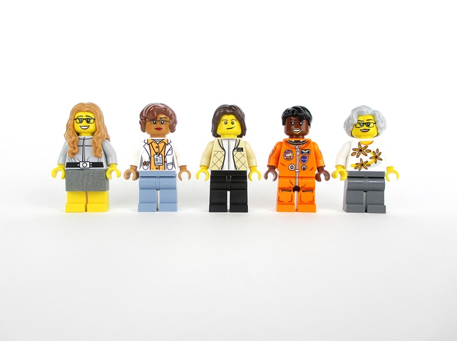 From left to right: The Women of NASA Lego set would come with Margaret Hamilton, Katherine Johnson, Sally Ride, Mae Jemison and Nancy Grace Roman.