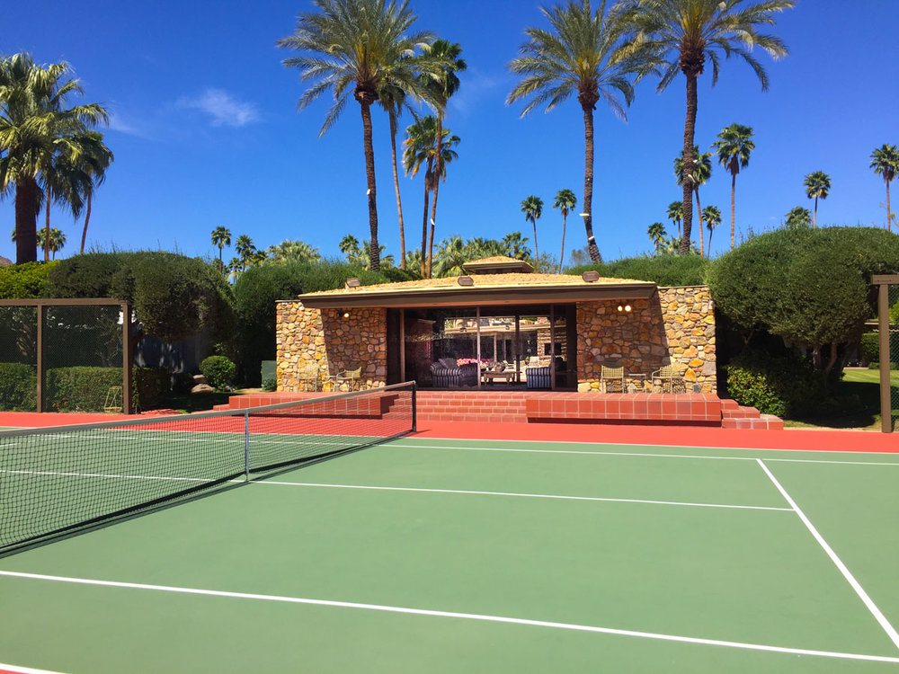 Kirk Douglas' former Tennis Court and Air Conditioned Tennis Pavilion.  Photo: Will Fuller