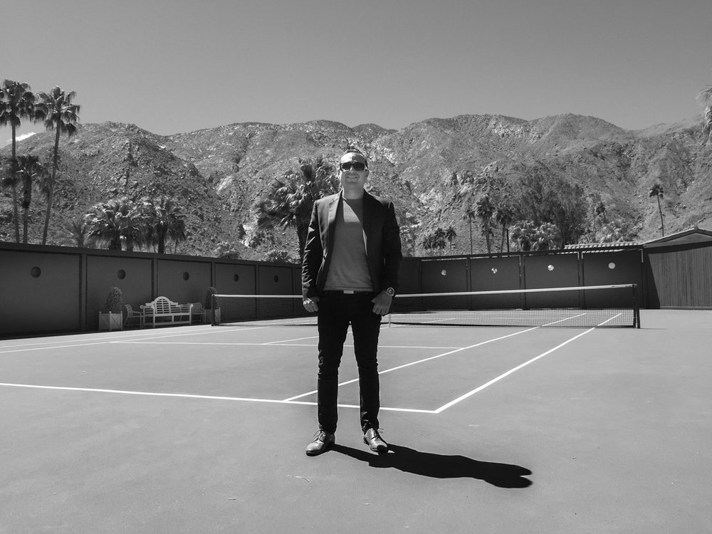 Josh Reef standing on in the tennis stadium at the former Kirk Douglas Estate.  Photo: Will Fuller