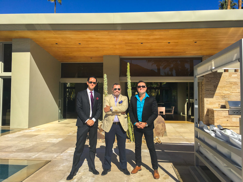 Pictured: Will Fuller (Hurwitz James Co.), Keith Markovitz (TTKrepresents), Josh Reef (Hurwitz James Co.) standing on the patio of 816 N. Patencio Rd, Palm Springs, CA.