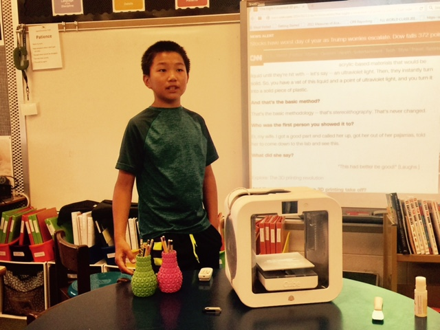 RYAN HE, A FOURTH GRADER AT JEFFERSON ELEMENTARY SCHOOL, PRESENTED TO THE EEF BOARD FOR JODI CLINE AND DEMONSTRATED THE CUBE 3RD GENERATION PRINTER.