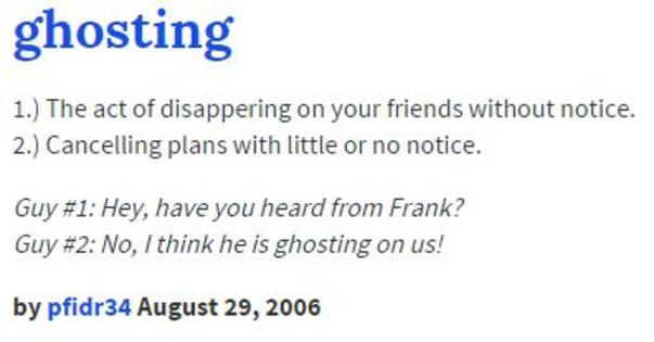 "Yeah, yeah, everyone gets ""ghosted."" It happens :)"
