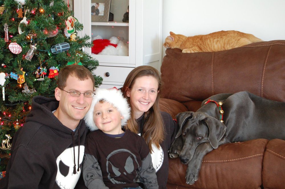 We've had Daphne since she was eight weeks old. This is her first Christmas with us. This is probably the hundredth take to try to get the whole family in a photo, including the cat and dog. This was the best we got. Homer was over it. Considering getting rid of her was, and is, heartbreaking. We don't take the decision lightly.