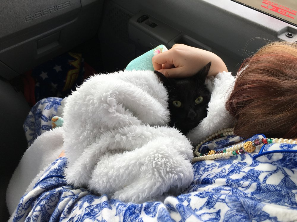 Loki tolerated his fear of death by hiding under blankets while the RV was in motion. This is me snuggling him in a blanket for a brief trip to the front seat. Tell me that's not adorable, and I'll show you a cold, black lump of coal where your heart should be. Also, my grandma's beads, which I have been wearing with everything, including PJs since she gave them to me. She wore them all the time. I put them on as a joke, and she said they look better on me, and gave them to me. I can't believe how much I love them. I think I love them more than any piece of jewelry I own. Literally. I'd save these beads before my wedding ring, in a fire. Maybe. Okay, it's a tie. Also, I have a lot of hair.