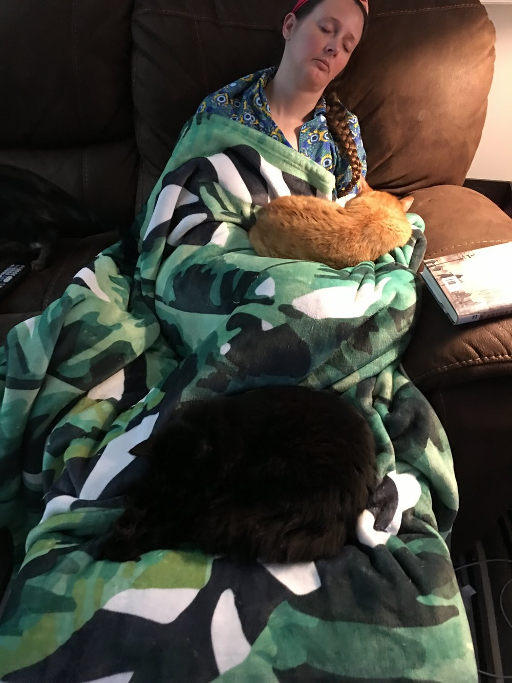 Not a super flattering picture of me, but Bryon took it. He said he just missed the moment when all three cats were sleeping on me. Told you, I don't move much when I am on my depression-spot!