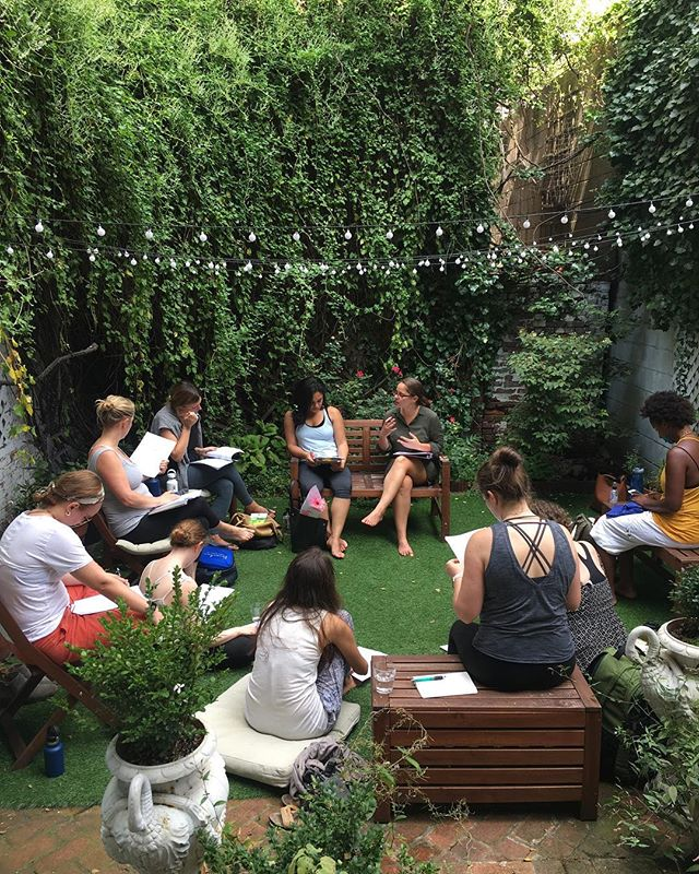 Our Prenatal Yoga Teacher Training started this weekend 💚 Here are our teacher trainees out in the garden for a lecture on postpartum support with Jenny @riverwooddoula . A few of our lectures are open to the public - Schedule below & link to events in bio. . . Supporting Families through Pregnancy and Birth with Laura Vladimirova -September 23, 11am-1pm . Partner Yoga & Yoga for Labor with Neelu Shruti - September 23, 3pm-4pm . Being Inclusive with Neelu Shruti- September 23, 4.30-6.30pm : A lecture on how to be inclusive in your language and address non-traditional families, LGBTQ families, families with a history miscarriages, loss and abortions and to be gender inclusive when talking about and addressing babies and children. . Prenatal & Postnatal Core & Pelvic Floor Workshop with Neelu Shruti - September 29, 11.30am-2.30pm . Culture of Birth with Dr. Zahra Virani - September 30, 11am-1pm . Yoga to Support Menstrual Cycles, Fertility, Pregnancy, Postpartum and Menopause with Neelu Shruti -October 14, 1.30pm-3.30pm . Decolonize Yoga with Neelu Shruti - October 14, 3.30pm-6.30pm : Mainstream Yoga in the United States largely a white dominated space, mysticizing and culturally approprating Indian tradition and culture while funneling corporate consumption in the guise of health and spirituality. This lecture addresses these conditions in a global and political context and offers suggestions on how to decolonize your personal relationship to Yoga. . Each lecture is 45 per person. 20% discount for LC members. . #yoga #prenatalyoga #postnatalyoga #birth #prenatalyogateachertraining #nyc #decolonizeyoga