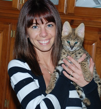 Julie with baby serval