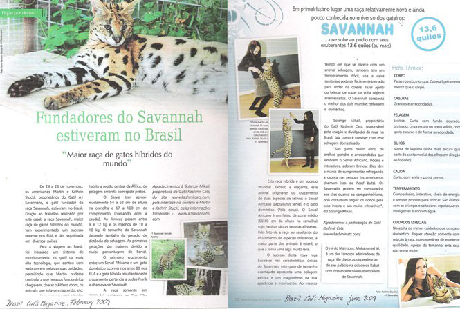 Cover page for in A1Savannahs Brazil Cat Magazine
