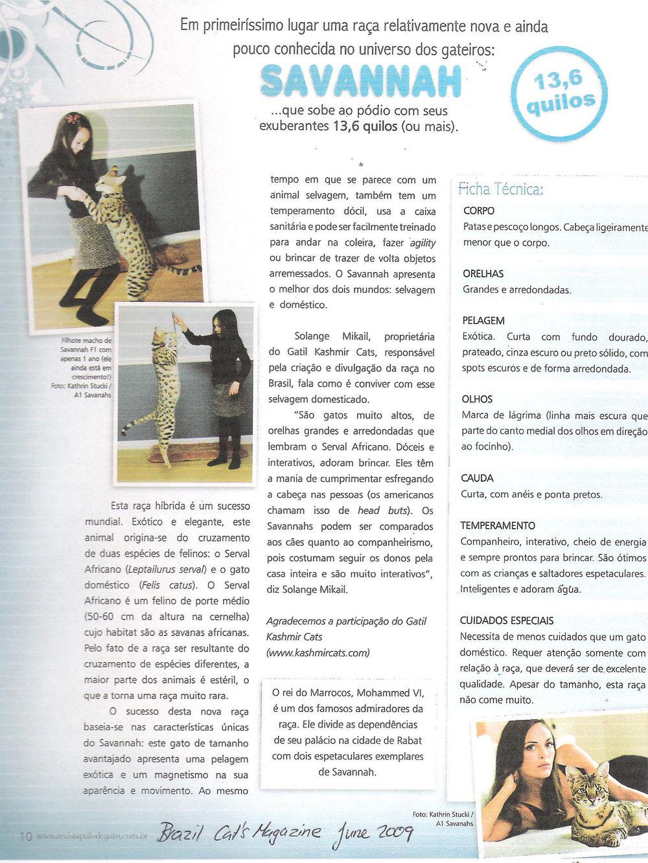 A1Savannahs Brazil Cat Magazine page 2