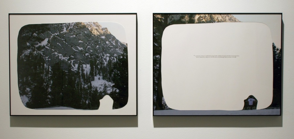"a momentary release of candid forthcomings, 2008  cut-out chromogenic print on board with text, diptych, 50.8cm x 40.6cm / 20"" x 16"""