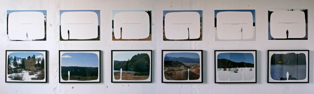 "enjoyable but temporary, 2008 6 cut-out chromogenic prints on board with text, a set of 12, 36cm x 28 cm / 14"" x 11"""