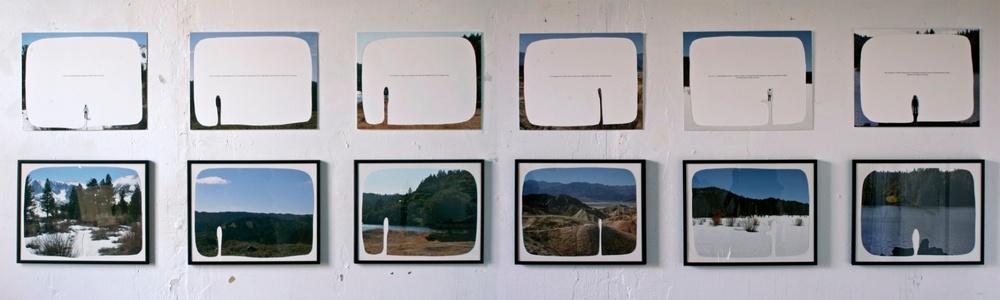 enjoyable but temporary, 2008 6 cut-out archival pigment prints with text. twelve,12cm x 36cm