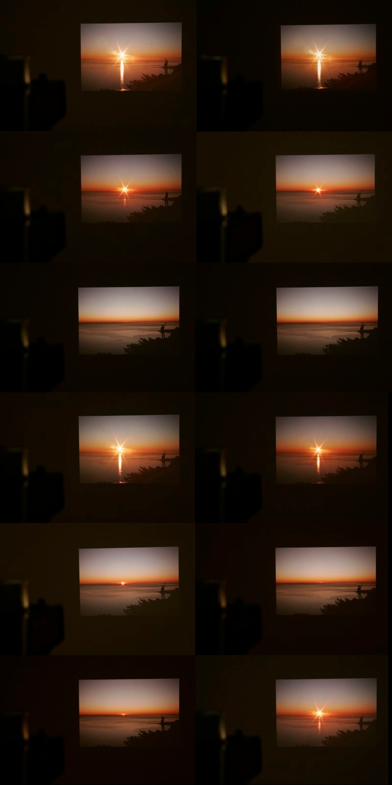 it's hard to find you because i can't quite see what you mean to me, 2009  80 consecutive slides of a figure waving at a sunset and a sunrise, slide projector.