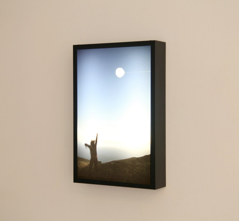 "one in a series of sequential misunderstandings, 2010  cut-out chromogenic transparency in light box, 61cm x 40.6cm x 10.2cm / 24"" x 16"" x 5"""
