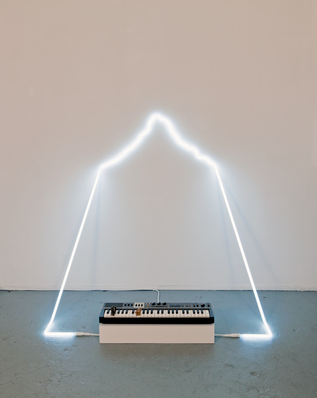 in defiance of being #3, 2014  neon, Casiotone MT-68 keyboard, rocks, dimensions variable